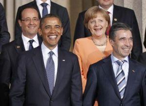 Dessa sociopater har inga problem med att stödja nynazister nu när det gagnar deras egna intressen. (Överst fr. v.: Hollande, Merkel, Obama, Fogh Rasmussen)