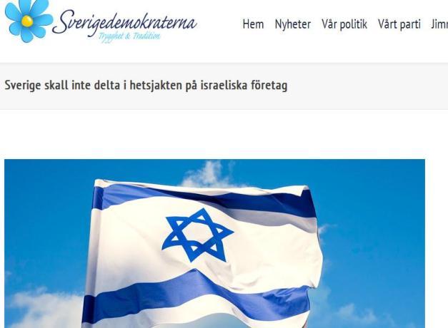 Skärmdump av pro-israelisk propaganda på Sionistdemokraternas hemsida (2013).