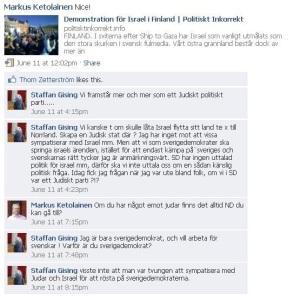 Staffan Gisings Facebook-kommentarer. (Klicka här för en större bild där texten är lättare att läsa.)