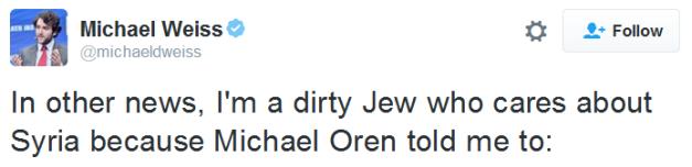 En tweet av Michael Weiss där han bekräftar sin judiska börd.